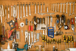 Tools on pegboard
