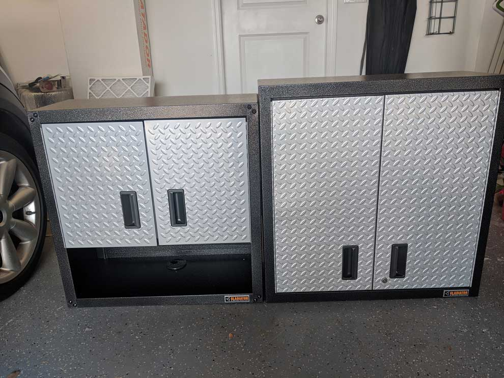 "28"" Gladiator RTA 3/4 Wall GearBox cabinet (Left) & Gladiator Premier 30"" Wall GearBox cabinet (Right)"