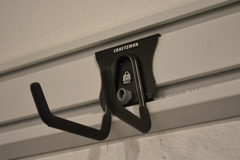Craftsman VersaTrack hook on a Gladiator GearTrack channel