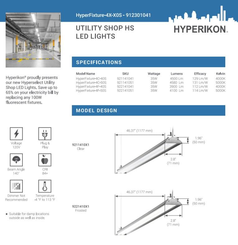 Hyperikon HyperFixture 4C-50S spec sheet