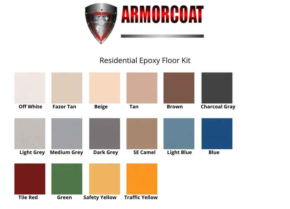 Armorcoat epoxy garage floor colors