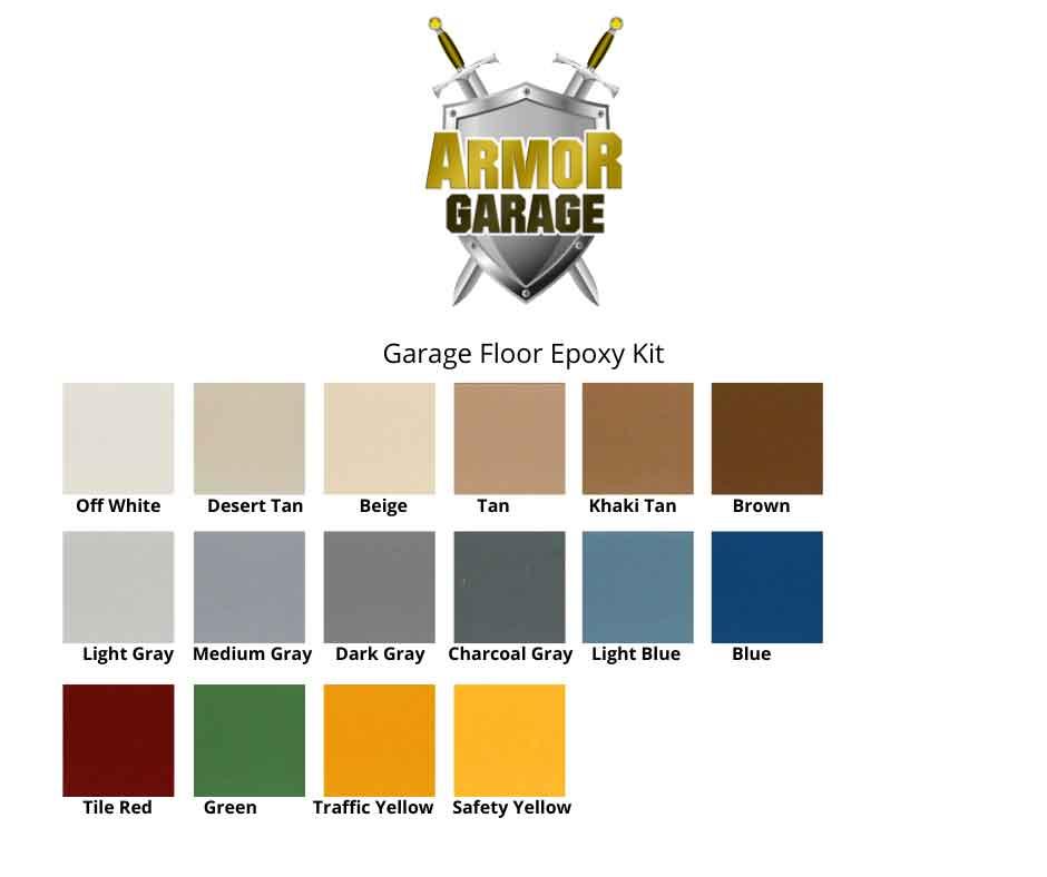 Armor Garage epoxy floor kit colors