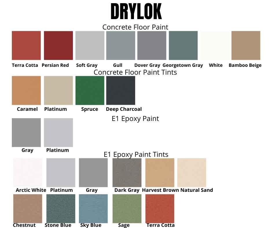 Drylok concrete and garage floor paint colors