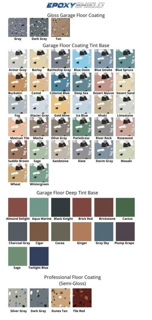 Epoxyshield garage floor paint colors