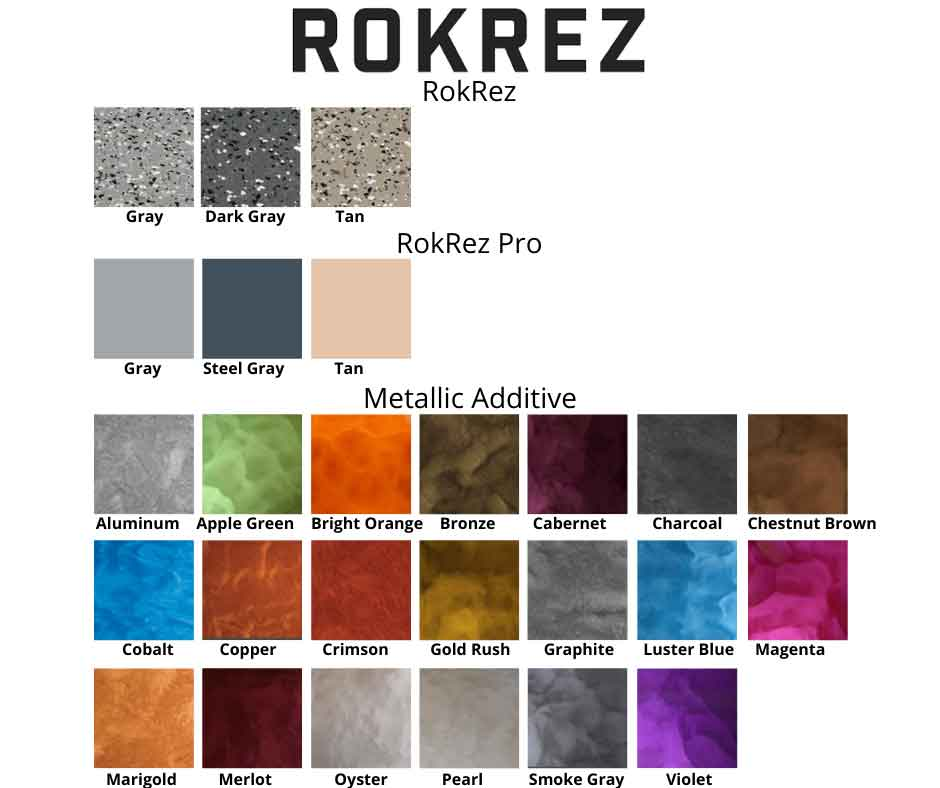 ROKREZ garage epoxy kit colors