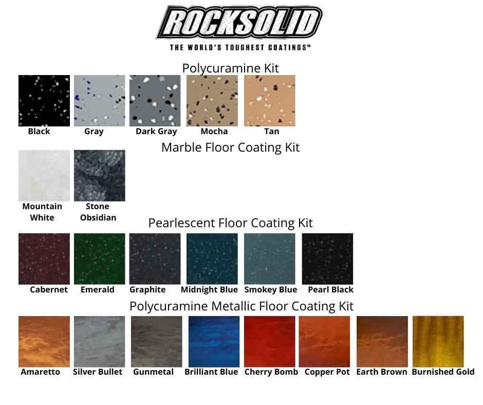 Rocksolid polycuramine garage floor colors