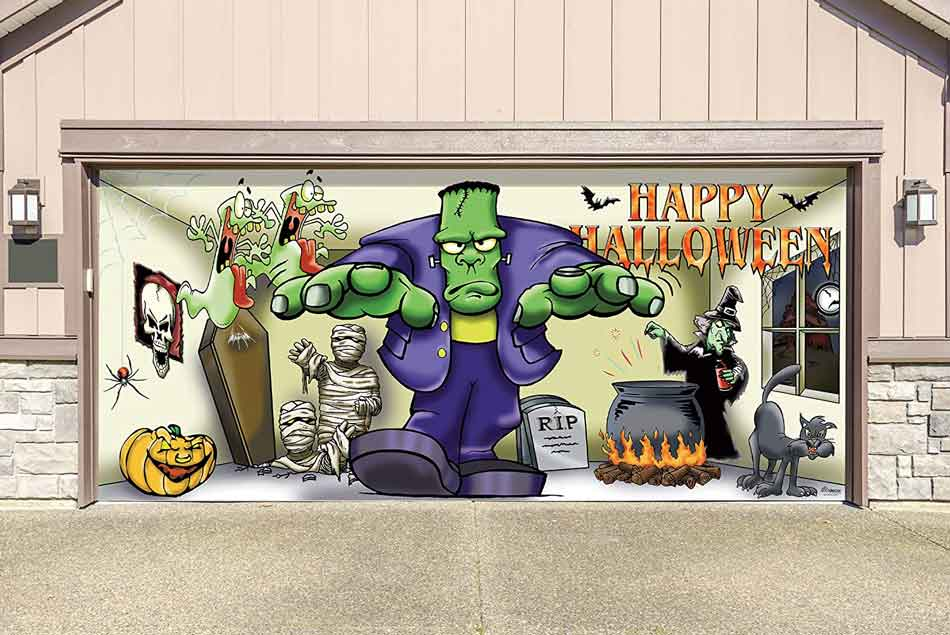 Kid-friendly Frankenstein garage door decoration