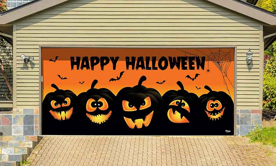 Add a door banner to help decorate your garage door for Halloween