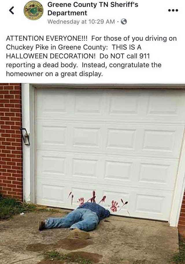 Some garage door Halloween decorations may go a bit too far
