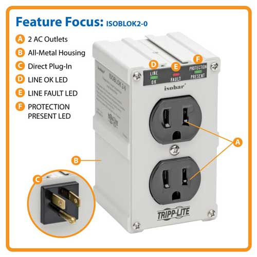 Tripp-Lite ISOBLOK2-0 Two Outlet Surge Protector