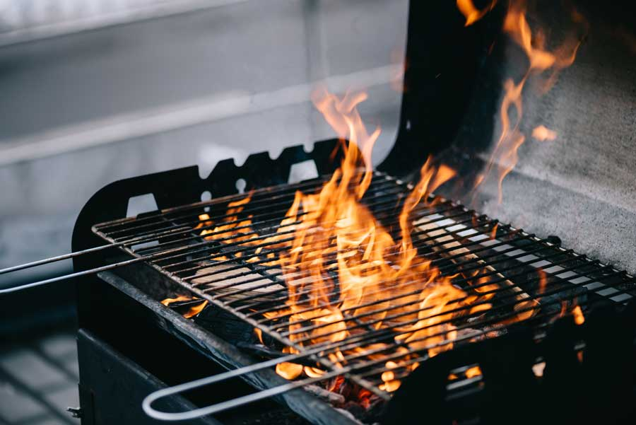Flame on grill